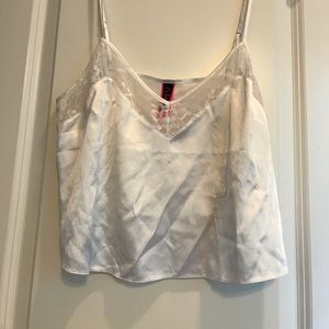 White silk and lace pj top
